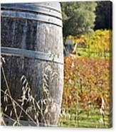 Barrel In The Vineyard Canvas Print