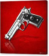 Beretta 92fs Inox Over Red Leather  Canvas Print