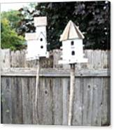 2 Bird Houses And A Fence Canvas Print