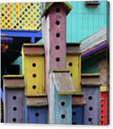 Birdhouses For Colorful Birds 3 Canvas Print