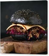 Black Burger With Stews Canvas Print