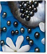 Black Pearls And Tiare Flowers Canvas Print