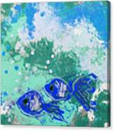 2 Blue Fish Canvas Print