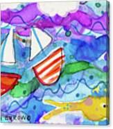 2 Boats And Yellow Fish Canvas Print