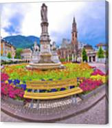 Bolzano Main Square Waltherplatz Panoramic View Canvas Print