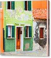 Burano Anisland Of Multi Colored Homes On Canals North Of Venice Italy Canvas Print