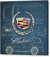 Cadillac 3 D Badge over Cadillac Escalade Blueprint  Canvas Print