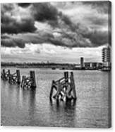 Cardiff Bay Panorama Mono Canvas Print