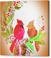 Cardinals Painted By Linda Sue Canvas Print