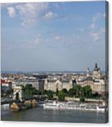 Chain Bridge On Danube River Budapest Cityscape Canvas Print