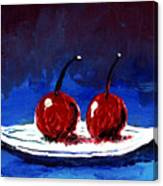 2 Cherries On A White Plate Canvas Print