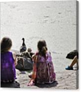 Children At The Pond 5 Canvas Print
