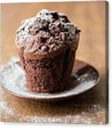 Chocolate Muffin With Powdered Sugar Canvas Print