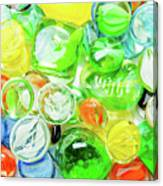 Colored Glass Beads On White Background Canvas Print