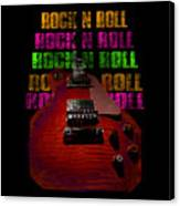 Colorful Music Rock N Roll Guitar Retro Distressed Canvas Print