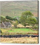 Cottage At The Foothill Of The Colorful Connemara Mountains Ireland  Canvas Print