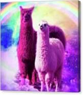 Crazy Funny Rainbow Llama In Space Canvas Print