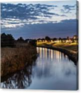 Dawn Over The Town River Canvas Print