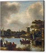 Dutch Landscape With Fishers Canvas Print