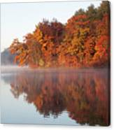 Fall Sunrise At Cox Hollow Lake In Governor Dodge State Park Canvas Print