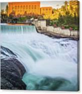 Falls And The Washington Water Power Building Along The Spokane  Canvas Print