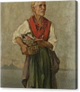 Fish Seller With The Vesuvio In The Background Canvas Print