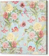 Fleurs De Pivoine - Watercolor In A French Vintage Wallpaper Style Canvas Print