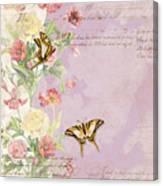 Fleurs De Pivoine - Watercolor W Butterflies In A French Vintage Wallpaper Style Canvas Print