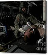 Flight Medic Looks After A Mock Patient Canvas Print