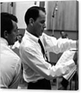 Frank Sinatra And Dean Martin At Capitol Records Studios 1958. Canvas Print