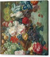 Fruit And Flowers In A Terracotta Vase Canvas Print