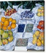 Fruit Displayed On A Stand Canvas Print