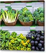 Fruits And Vegetables On A Supermarket Shelf Canvas Print