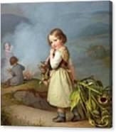 Girl On Her Way To Cooking Potatoes In The Fire Canvas Print