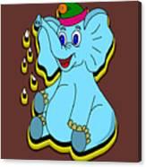 Happy Blue Elephant Canvas Print