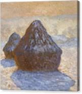 Haystacks, Snow Effect Canvas Print