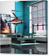Helicopter Art Canvas Print