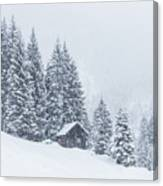 Huts And Winter Landscapes Canvas Print
