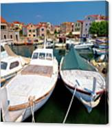 Island Of Prvic Harbor And Waterfront View In Sepurine Village Canvas Print