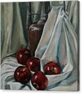 Jug With Apples Canvas Print