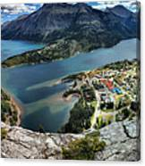 Looking Down On Waterton Lakes Canvas Print