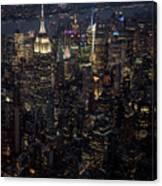 Midtown West Manhattan Skyline Aerial At Night Canvas Print