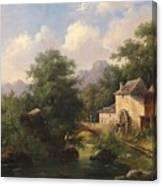 Mill With Angler Canvas Print