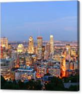 Montreal At Dusk Panorama Canvas Print