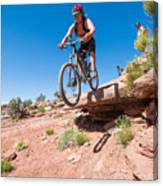 Mountain Biking The Porcupine Rim Trail Near Moab Canvas Print