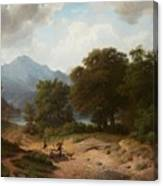 Mountainous Landscape With Shepherds Canvas Print