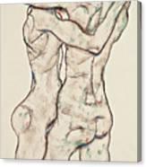 Naked Girls Embracing Canvas Print