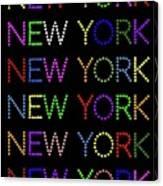 New York - Multicoloured On Black Background Canvas Print