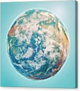 North Pole 3d Render Planet Earth Clouds Canvas Print
