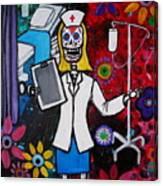 Nurse Dia De Los Muertos Canvas Print